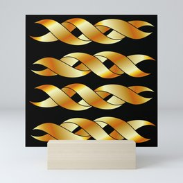 Twisted golden swirls Mini Art Print