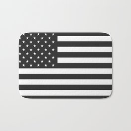 American Flag Stars and Stripes Black White Bath Mat