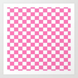 Checkers - Pink and White Art Print