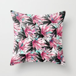 Abstract Pink Teal Leaves and Geometric Triangles Throw Pillow