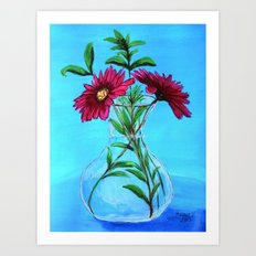 Glass vase with pink flowers Art Print