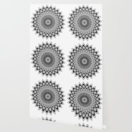 Sacred Lotus Black and White Mandala - LaurensColour Wallpaper