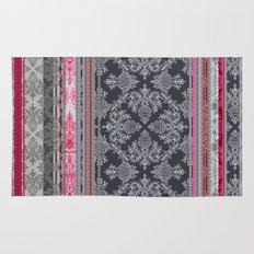 Burgundy, Pink, Navy & Grey Vintage Bohemian Wallpaper Rug