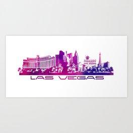 Las Vegas skyline purple Art Print