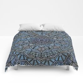 Circle of Life Mandala full color on blue swirl Comforters