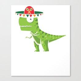 Cute T-Rex With Sombrero Cinco De Mayo Mexican Canvas Print