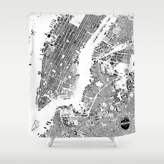 NEW YORK Shower Curtain By Maps Factory