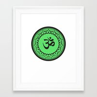 islam Framed Art Prints featuring Black And Green Islam Religious Symbol by ArtOnWear