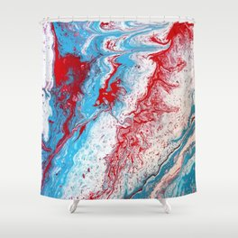 Marble Red Blue Paint Splatter Abstract Painting by Jodilynpaintings Red Shower Curtain