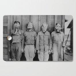 American, British, French, & German Gas Masks Cutting Board