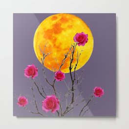 SURREAL FULL MOON & PINK WINTER ROSES Metal Print