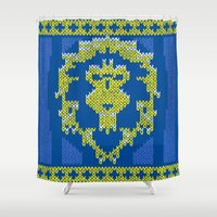 warcraft Shower Curtains featuring Ugly Sweater 1 by SlothgirlArt