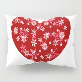 Red Heart Of Snowflakes Loving Winter and Snow Pillow Sham