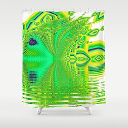 Lemon Lime Cool Summer Day, Fractal Dreams in Green Shower Curtain