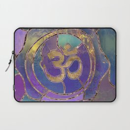 Om Symbol Golden and Paint texture Laptop Sleeve