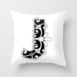 Letter J Elegant Scroll Initial Throw Pillow