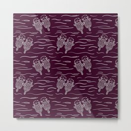 Sea Otters on Dark Raspberry Metal Print