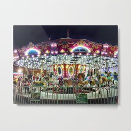 Merry Go Round at Night Metal Print