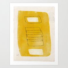 Golden Mono Form with Cream and Hollow Shapes Art Print