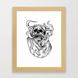 smoking skull Framed Art Print