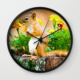 Squirrel Among the Marigolds Wall Clock