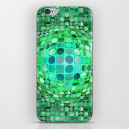 Optical Illusion Sphere - Green iPhone Skin