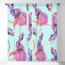 HullaHoops, Eclectic Colorful Fish Graphic Design, Animals Gold Rings Surrealism Quirky Blackout Curtain
