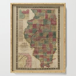 State of Illinois Map (1836) Serving Tray