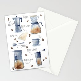 Coffee Utensils Watercolor Illustration Stationery Cards