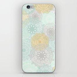 Floral Mandala Blooms Fall, Yellow, Aqua,Gray iPhone Skin