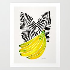 Banana Bunch – Yellow & Black Palette Art Print