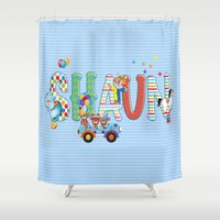 shaun of the dead Shower Curtains featuring Shaun / Personalised Children's  Name by MariskaART