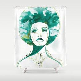 Green Afro Queen Shower Curtain