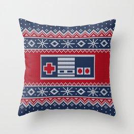Retro Christmas Nintendo Controller Throw Pillow