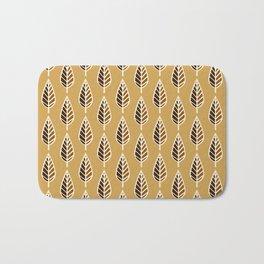 Beech Leaf Pattern, Mustard Gold, Brown and Cream Bath Mat