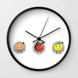 Funny angry vegetables Wall Clock