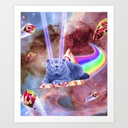 Laser Eyes Space Cat Riding Rainbow Pizza Art Print