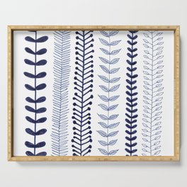 navy blue vines Serving Tray