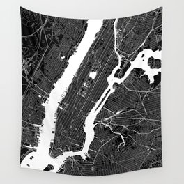New York City Black And White Map Wall Tapestry