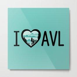 I Love Asheville - Mountain Biking - AVL 4 Mintgreen Metal Print