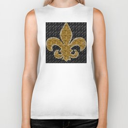 Black and Gold Fleur De Lis Biker Tank