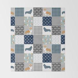 Corgi Patchwork Print - navy, dog, buffalo plaid, plaid, mens corgi dog Throw Blanket