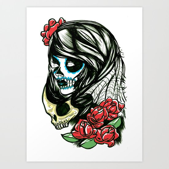 Sugar Skull Girl Art Print