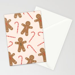 Gingerbread Man + Candy Cane Christmas Pattern Stationery Cards
