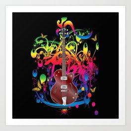 Bass Guitar Color splash Art Print