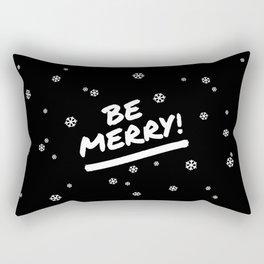 Black and White Be Merry Christmas Snowflakes Rectangular Pillow