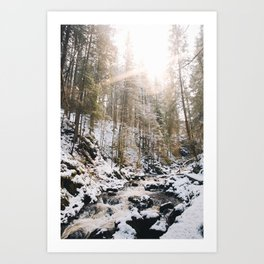 a river, a sun and a bit of snow Art Print
