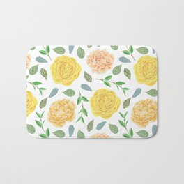Hand painted yellow coral watercolor modern floral Bath Mat