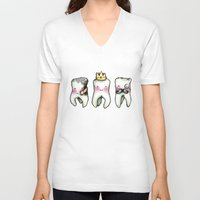tooth V-neck T-shirts featuring Rotten Tooth, Crowned Tooth and Wisdom Tooth by Hungry Designs