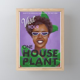 Stay the F Home One House Plant Poster Framed Mini Art Print